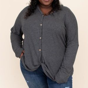 Chic Soul gray knot top
